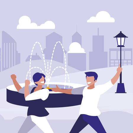 young dancers couple dancing in the park vector illustration design Standard-Bild - 132915241
