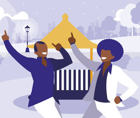 black dancers couple in the park vector illustration design Standard-Bild - 132918318