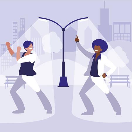 interracial dancers couple in the park vector illustration design Standard-Bild - 132918405