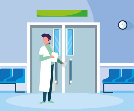 male medicine worker in entrance to the operating room vector illustration design Illustration