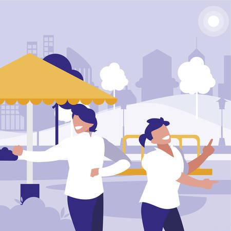 young dancers couple dancing in the park vector illustration design Standard-Bild - 132921673