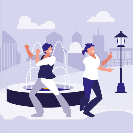 young dancers couple dancing in the park vector illustration design Standard-Bild - 132929693