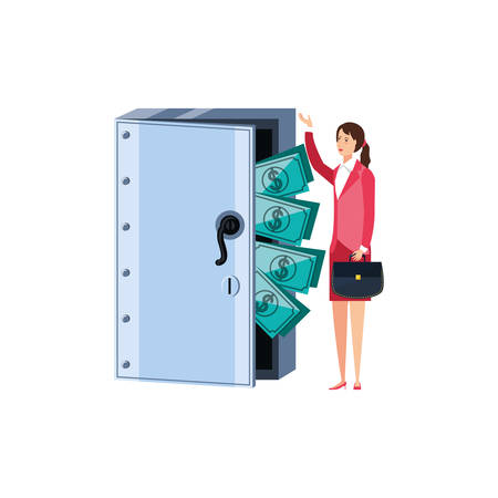 young businesswoman with safe box door and dollars vector illustration design Vectores