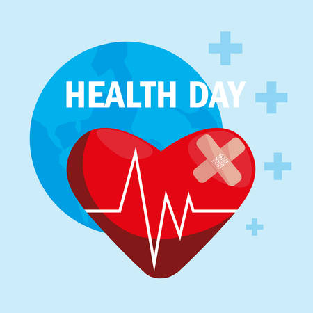 world health day card with heart vector illustration design  イラスト・ベクター素材