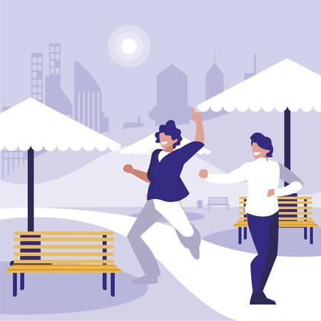 young dancers couple dancing in the park vector illustration design Standard-Bild - 132962689
