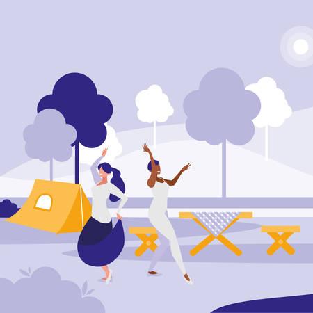 young interracial girls dancing in the park vector illustration design Standard-Bild - 132962824
