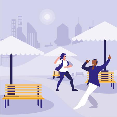 interracial dancers couple in the park vector illustration design Standard-Bild - 132962840