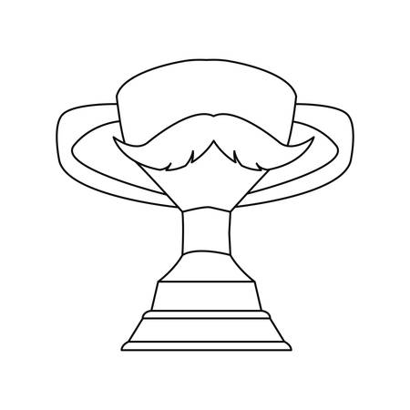 award trophy mustache happy fathers day vector illustration