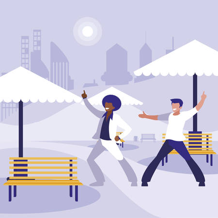 interracial dancers couple in the park vector illustration design Standard-Bild - 132966304