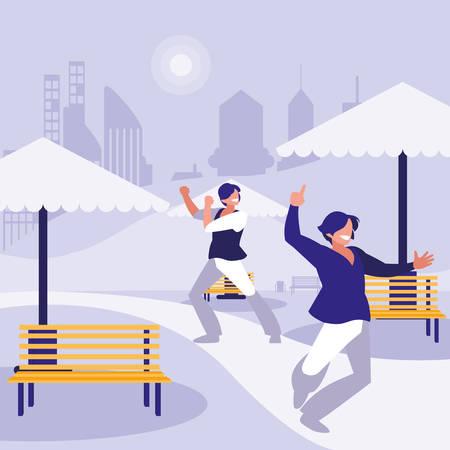 young dancers couple dancing in the park vector illustration design Standard-Bild - 132966358