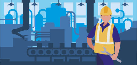 worker in factory workplace vector illustration design Standard-Bild - 132938640