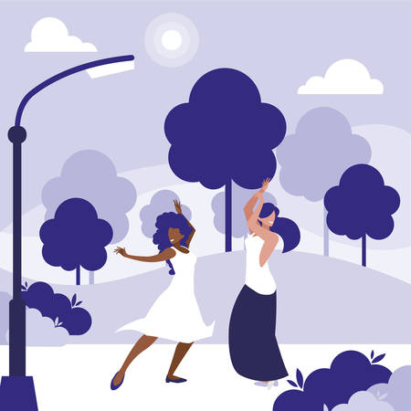 young interracial girls dancing in the park vector illustration design Standard-Bild - 132967520