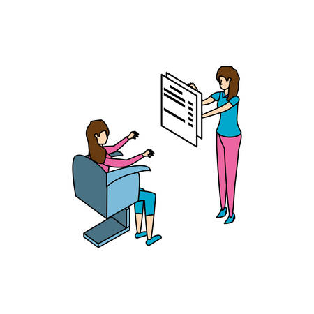 businesswomen workers with documents in office chair vector illustration design