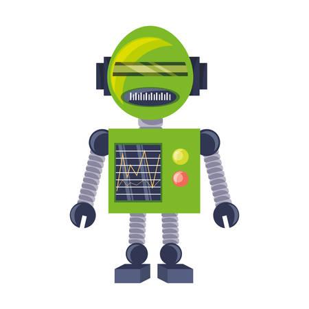 cartoon robot icon over white background colorful design vector illustration Çizim