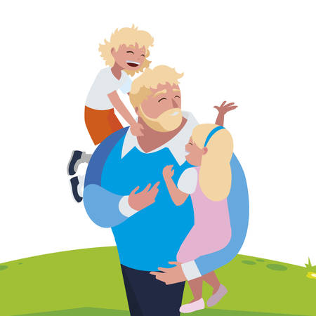 father with son and daughter characters in the field vector illustration design Иллюстрация
