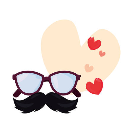 eyeglasses mustache love hearts happy fathers day vector illustration Иллюстрация