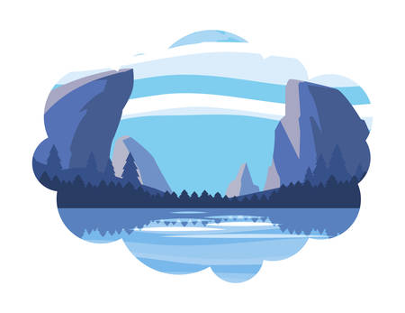 mountains with forest and lake snowscape scene vector illustration design