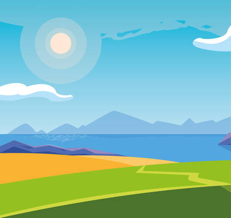 landscape with lake scene icon vector illustration design Banco de Imagens - 132954626