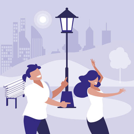 young couple dancing in the park characters vector illustration design Standard-Bild - 132968636