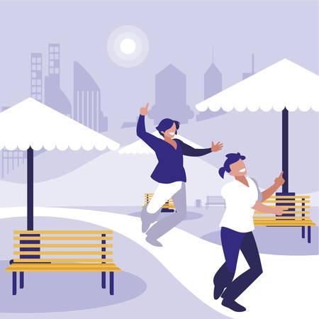 young dancers couple dancing in the park vector illustration design Standard-Bild - 132962536