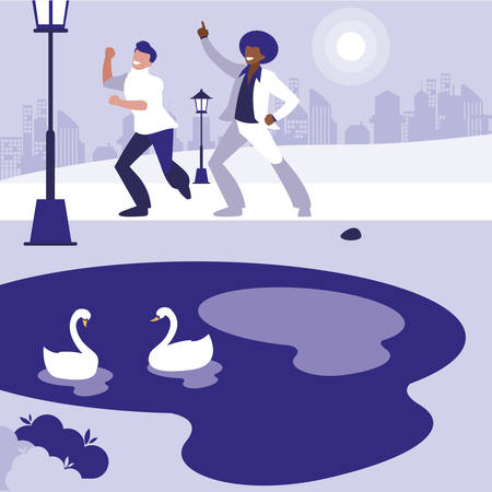 interracial dancers couple in the park vector illustration design Standard-Bild - 132962607