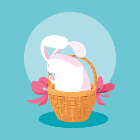 cute rabbit of easter in basket wicker vector illustration design