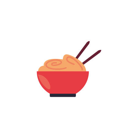 noodle bowl icon design, Eat food restaurant menu dinner lunch cooking and meal theme Vector illustration