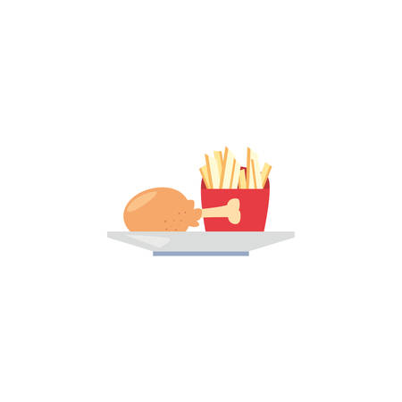 Chicken with french fries icon design, Eat food restaurant menu dinner lunch cooking and meal theme Vector illustration