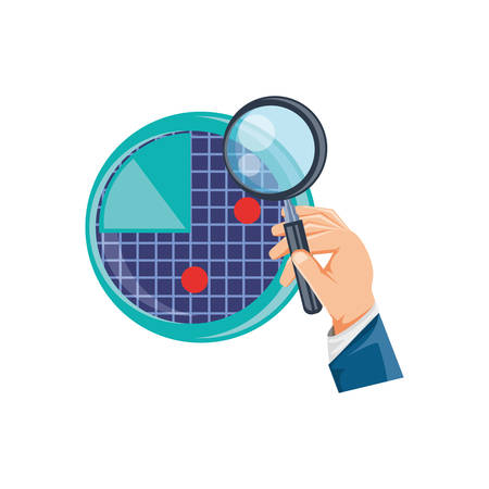 hand with magnifying glass and radar vector illustration design 일러스트