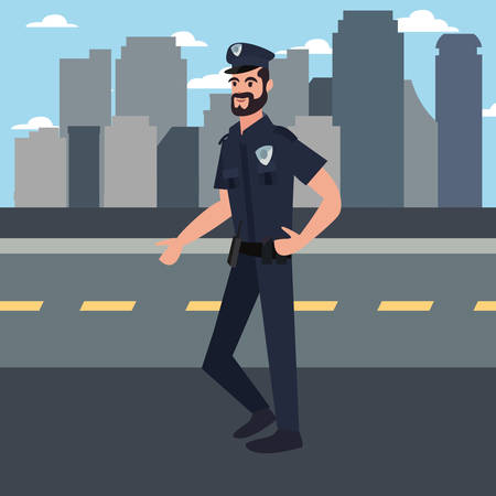 policeman city street building urban background vector illustration