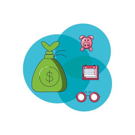 money bag with set icons vector illustration design