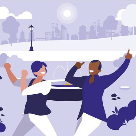 interracial dancers couple in the park vector illustration design Standard-Bild - 133021754