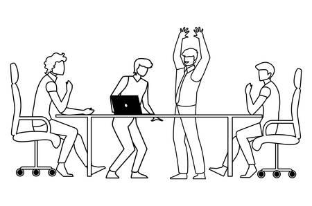 Groupe d'hommes d'affaires dans la conception d'illustration vectorielle de scène de bureau Vecteurs
