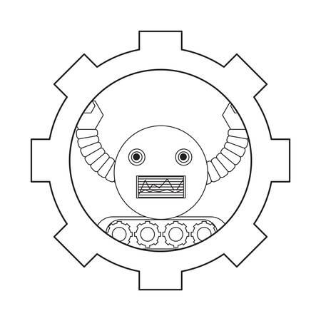 gear with cartoon robot icon over white background black and white design vector illustration Ilustración de vector