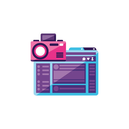 webpage template with camera photographic vector illustration design 일러스트