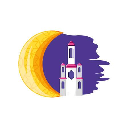 mosque castle with moon ramadan kareem vector illustration design