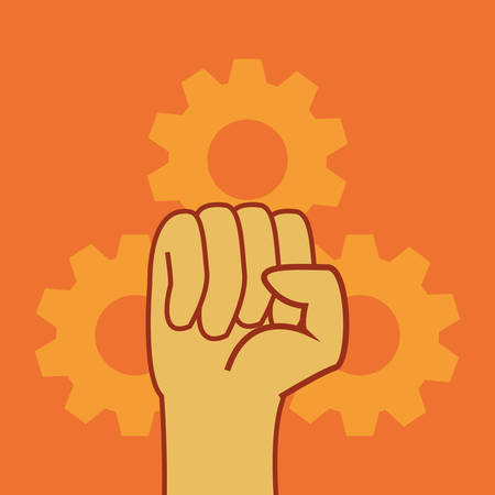 raised hand with gears labour day vector illustration design Çizim