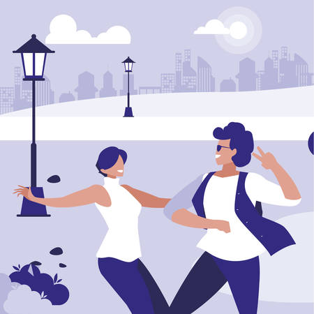 young couple dancing in the park characters vector illustration design Standard-Bild - 133059849