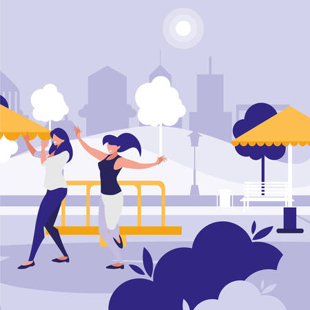 young girls dancing in the park characters vector illustration design Standard-Bild - 133059863