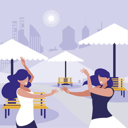 young girls dancing in the park characters vector illustration design Standard-Bild - 133059864