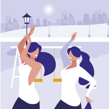 young girls dancing in the park characters vector illustration design Standard-Bild - 133059891