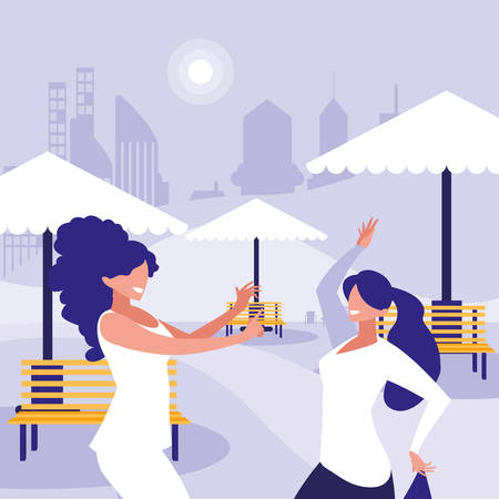 young girls dancing in the park characters vector illustration design Standard-Bild - 133059908