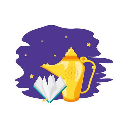koran book with teapot ramadan kareem vector illustration design Stock Illustratie
