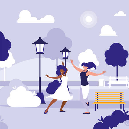 young interracial girls dancing in the park vector illustration design Standard-Bild - 133059939
