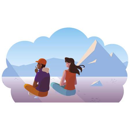 couple contemplating horizon in snowscape scene vector illustration design 矢量图像