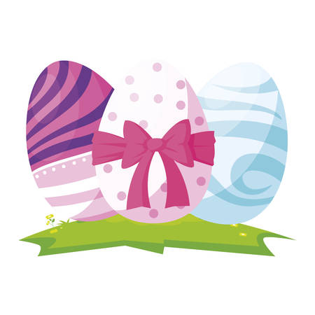 happy easter eggs painted with bow vector illustration design Stock Illustratie