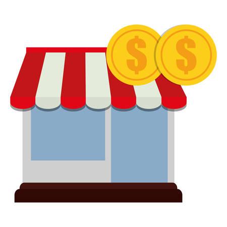 store facade building with coins money vector illustration design