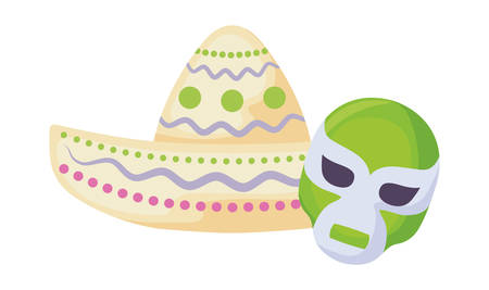 mexican wrestler mask and hat ethnicity icons vector illustration design