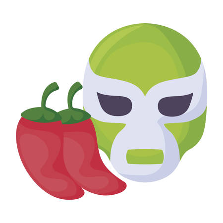 Mexican fighter mask with chili peppers