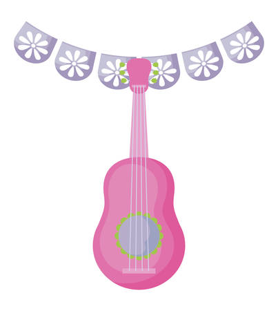 guitar with garlands mexican hanging vector illustration design